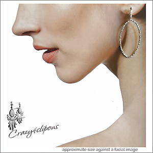 Dangling Sterling Silver Hoop Earrings -  Choose Pierced for Clips
