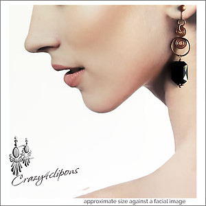 Artisan Copper Swirls w/ Black Crystal Earrings | Your choice:  Pierced or Clips