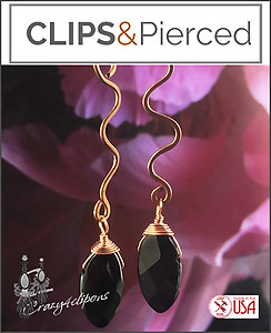 Artisan Swirled Antique Copper & Onyx Earrings | Your choice:  Pierced or Clips