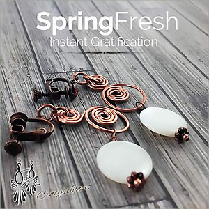 Artisan Copper & White Mother of Pearl Earrings | Your choice:  Pierced or Clips