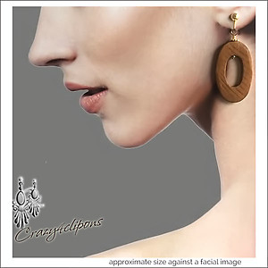 Hand cut Wood Hoop Earrings | Your choice: Pierced or Clips