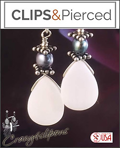 Mother Of Pearl Teardrop Earrings | Your choice:  Pierced or Clip on
