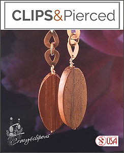 Copper & Wood Bohemian Earrings | Your choice:  Pierced or Clips