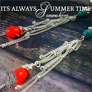 Gorgeous Coral, Turquoise Tassel Earrings | Your choice: Pierced or Clips