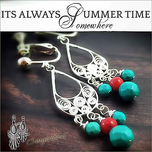 Summer Coral / Turquoise Earrings | Your choice:  Pierced or Clips