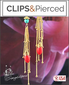 Gold & Turquoise Summer Fringe Earrings | Your choice:  Pierced or Clips