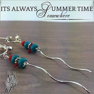 Turquoise, Coral Linear Earrings | Your choice: Pierced or Clips