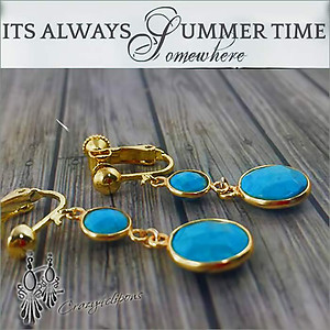 Gold & Turquoise Earrings | Your choice: Pierced or Clips