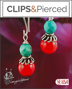 Summer Ready. Turquoise/Coral Earrings | Your choice: Pierced or Clips