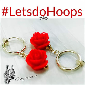 Spring Clip Earrings Hoops w/ Roses | Clips Only