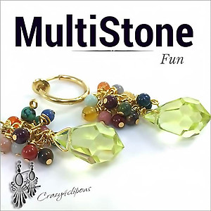Summer Delight. Multistone Earrings | Your choice: Pierced or Clips
