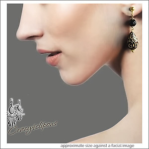 Lexi Black Gold & Onyx Earrings | Your choice:  Pierced or Clips