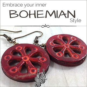 Bohemian Country.  Carved Leather Earrings | Your choice:  Pierced or Clips