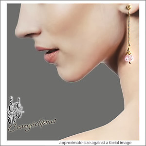 Linear Pink Crushed Crystal Earrings | Your choice:  Pierced or Clips