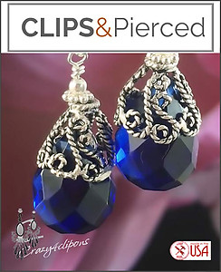 Large Jewel Tone Teardrop Earrings | Your choice:  Pierced or Clips