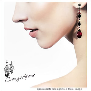 Black & Red Dangling Earrings | Your choice:  Pierced or Clips