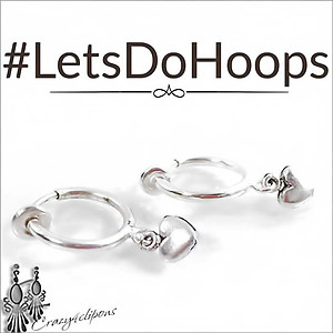 Everyday.  Small Spring  Hoop w/ Hearts | Clip Earrings Only