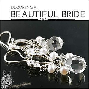 Bridal:  Filigree Hearts & Crystal Earrings | Your choice:  Pierced or Clips