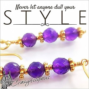 Classic. Amethyst & Gold Earrings | Your choice:  Pierced or Clip on