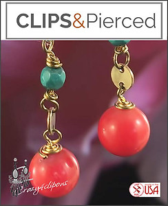 Small Summer Dangling Earrings | Your choice:  Pierced or Clips