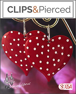 Polka Dot Enameled Heart Earrings