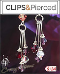 Swarovski Crystals Earrings| Your choice:  Pierced or Clip on