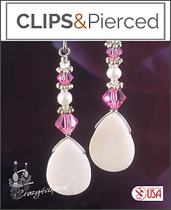 Mother of Pearl W/ Swarovski Crystals Earrings | Your choice:  Pierced or Clip on
