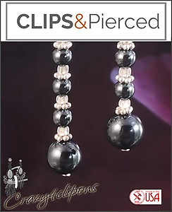 Edgy Hematite Beaded Earrings | Your choice:  Pierced or Clip on