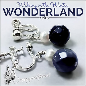 Blue Goldstone & Pearl Earrings | Your choice: Pierced or Clip on