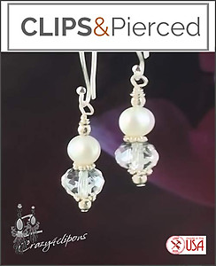 Everyday.  Pearls & Crystal Earrings | Your choice:  Pierced or Clip on
