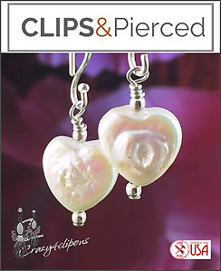 Pearl Heart Earrings for Girls | Your choice:  Pierced or Clips