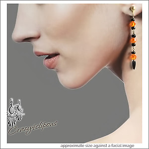 Halloween Dangling Crystal Earrings | Pierced or Clip on