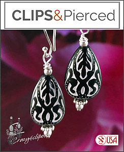 Lexi Paisley Black / White Earrings | Your choice:  Pierced or Clip on