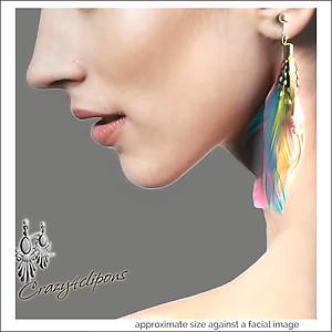 Colorful Ethnic Feather Earrings | Your choice:  Pierced or Clip on