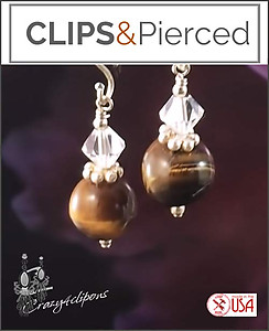 Swarovski & Tiger-eye Earrings | Your choice: Pierced or Clip on