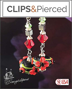 Artsy Lamp work Beaded Earrings | Your choice:  Pierced or Clip on