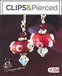 Artsy! Lamp Work Floral Red Earrings | Your choice: Pierced or Clip on