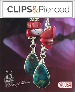 Turquoise & Coral-like Earrings | Your choice:  Pierced or Clip on