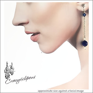 Blue Goldstone & Silver Long Earrings | Your choice: Pierced or Clip on