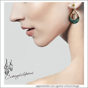 Verdigris Dangling Earrings | Pierced & Clip Ons