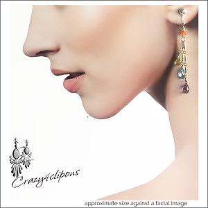 Sterling Silver & Gemstone Dangling Earrings | Your choice: Pierced or Clips