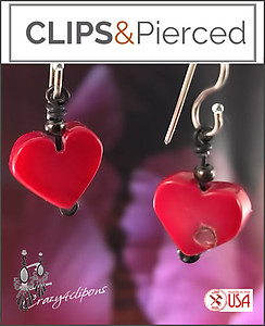 Mini Red Heart Earrings | Pierced & Clip Ons