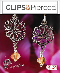 Sterling Silver Filigree Crystal Earrings | Pierced & Clip Ons