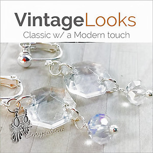 Vintage Crystals Dangling Earrings | Your choice:  Pierced or Clip on
