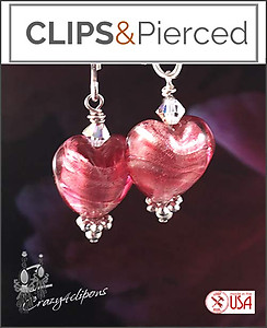 Venetian Foiled Heart Earrings | Your choice:  Pierced or Clip on