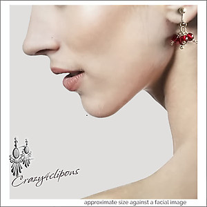 Christmas Time.  Clustered Red Earrings | Your choice:  Pierced or Clip on
