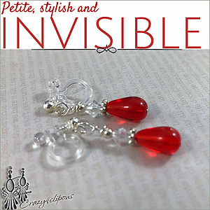 Small Red Crystal Earrings | Your choice:  Pierced or Clip on