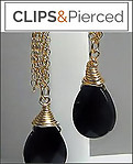 Gold Filled Chain & Onyx Earrings | Your choice:  Pierced or Clip on