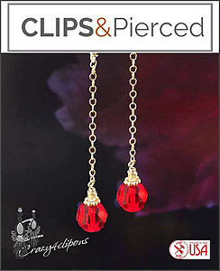 Christmas: Gold & Red Long Earrings | Pierced or Clip on
