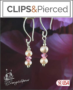 Pearls & Swarovski Crystal Earrings | Your choice: Pierced or Clip on